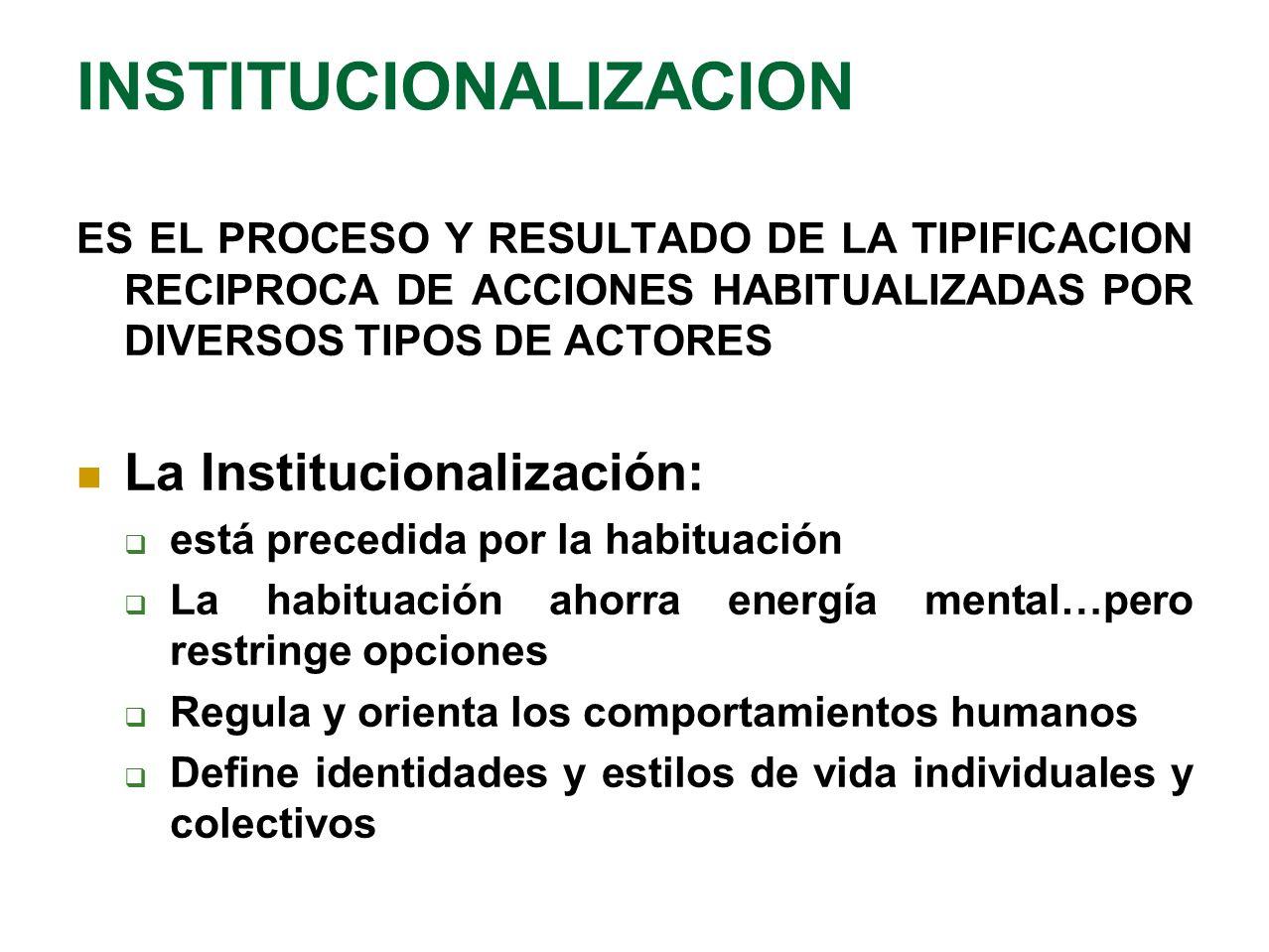 ES EL PROCESO Y RESULTADO DE LA TIPIFICACION RECIPROCA DE ACCIONES HABITUALIZADAS POR DIVERSOS TIPOS DE ACTORES La Institucionalización: está precedid