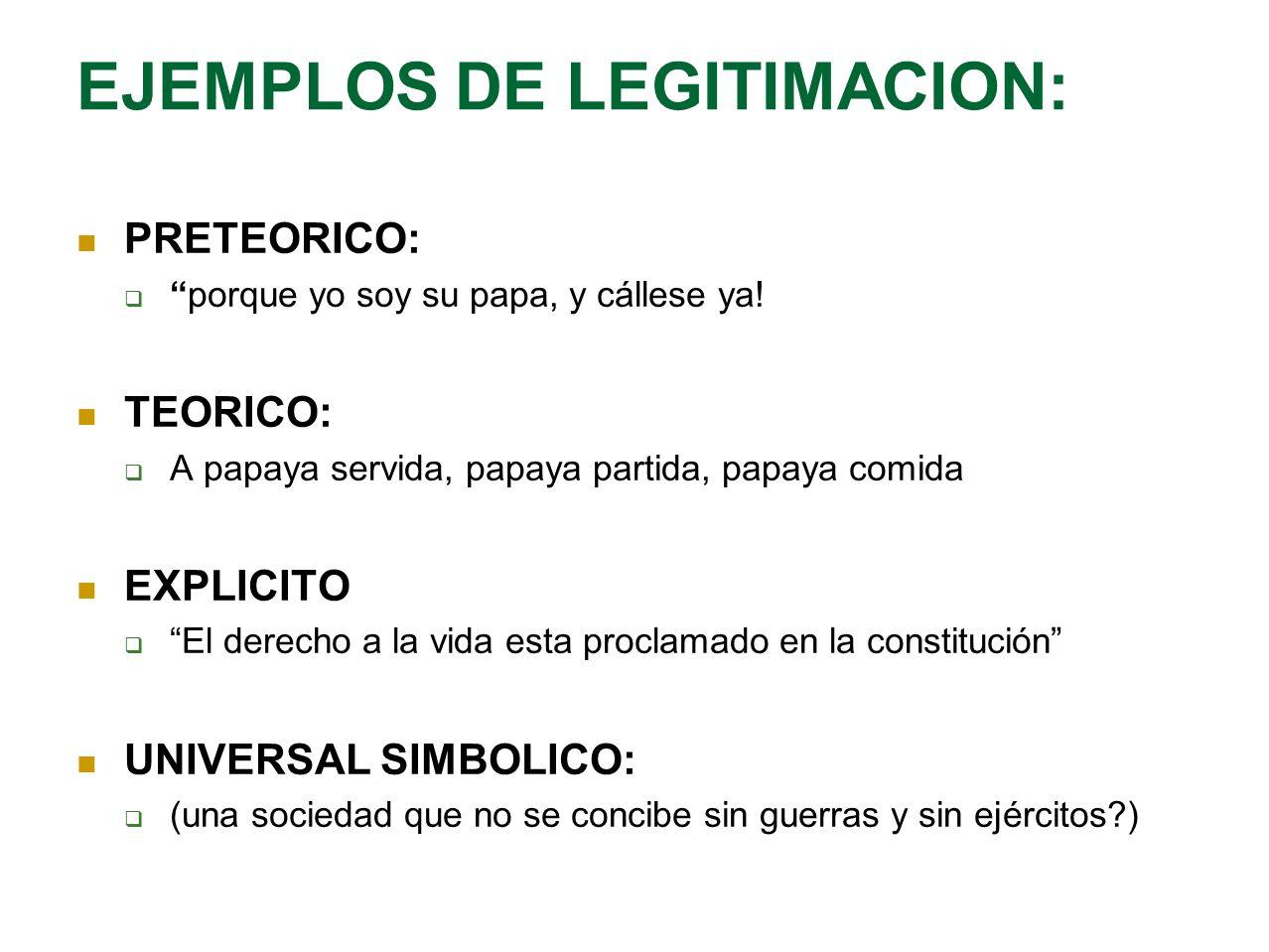 EJEMPLOS DE LEGITIMACION: PRETEORICO: porque yo soy su papa, y cállese ya! TEORICO: A papaya servida, papaya partida, papaya comida EXPLICITO El derec