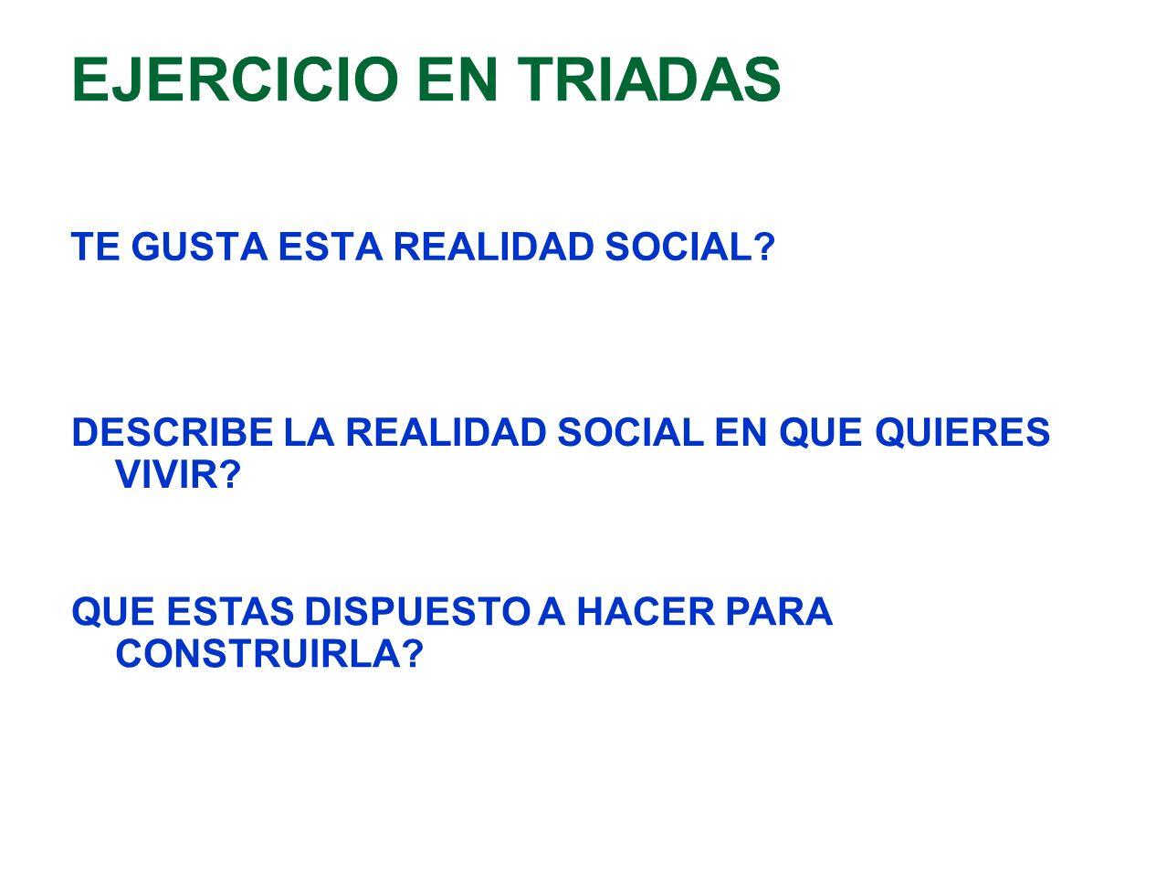 EJERCICIO EN TRIADAS TE GUSTA ESTA REALIDAD SOCIAL? DESCRIBE LA REALIDAD SOCIAL EN QUE QUIERES VIVIR? QUE ESTAS DISPUESTO A HACER PARA CONSTRUIRLA?