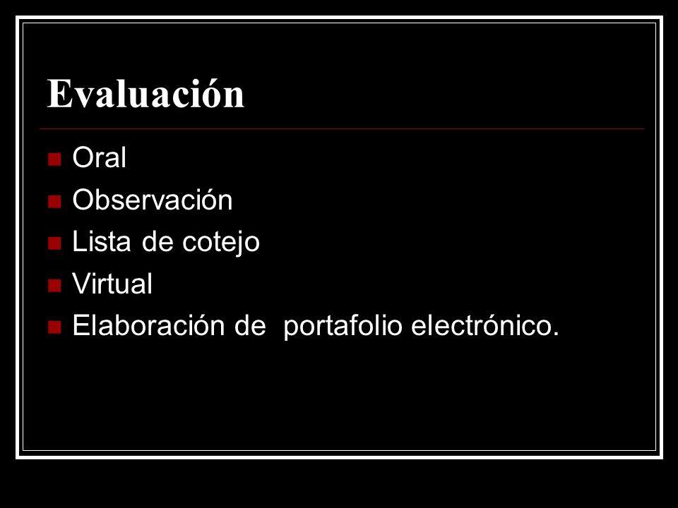 Evaluación Oral Observación Lista de cotejo Virtual Elaboración de portafolio electrónico.