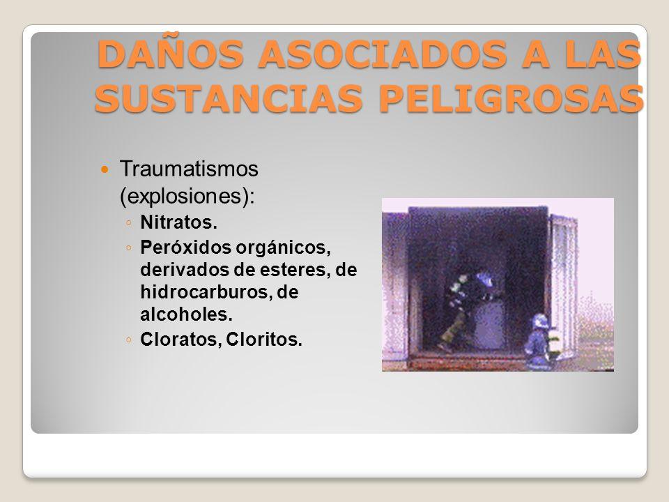 DAÑOS ASOCIADOS A LAS SUSTANCIAS PELIGROSAS Quemaduras: Solventes (Eter, Benceno, Cetonas, Alcoholes). Combustibles y sus derivados. Compuestos Orgáni