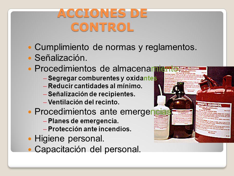 ACCIONES DE CONTROL PROCEDIMIENTOS DE TRABAJO : –Uso obligatorio de equipo de protección personal. –Uso de peras para succión, pipetas automáticas. –N