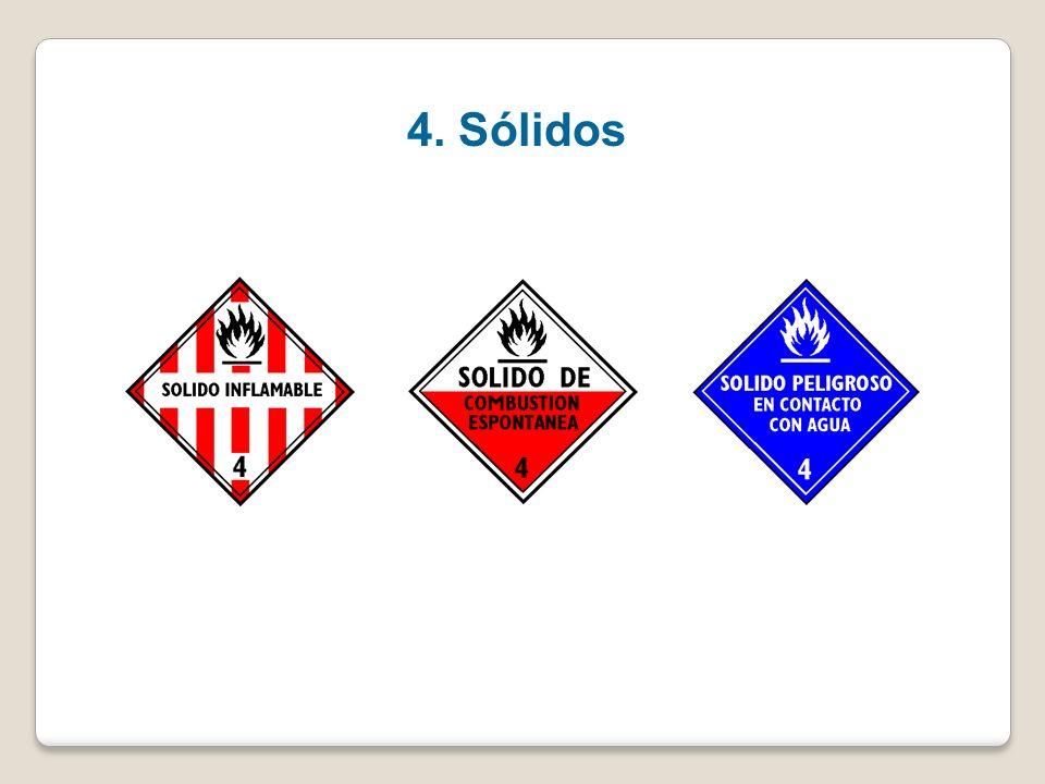 Clase 4- Sólidos inflamables – Sustancias qué presentan riesgos de combustión espontánea, sustancias que en contacto con el agua desprenden gases infl