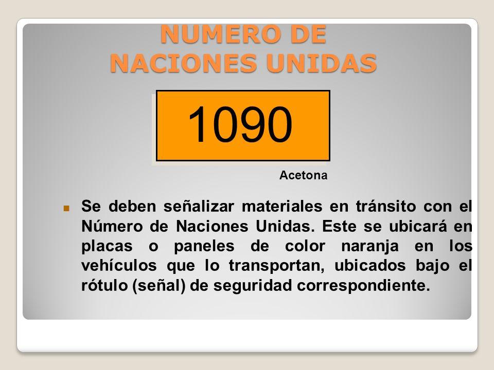NUMERO DE NACIONES UNIDAS Número de cuatro dígitos asignado a diferentes sustancias peligrosas. Muchos de los números asignados no representan materia