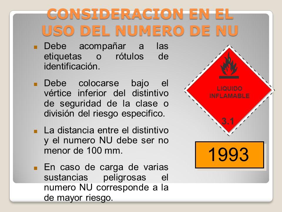 1090 Acetona Se deben señalizar materiales en tránsito con el Número de Naciones Unidas. Este se ubicará en placas o paneles de color naranja en los v