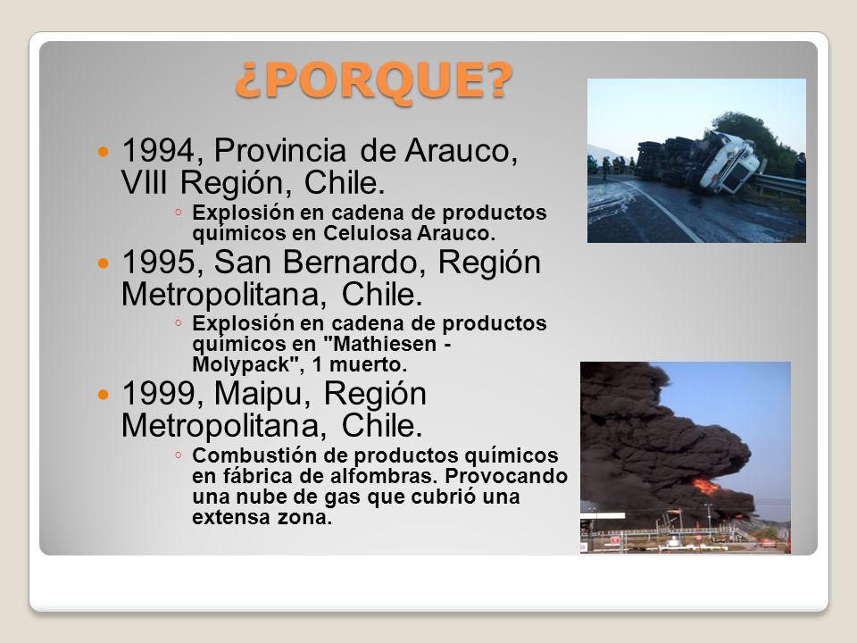 ¿PORQUE? 1986, Iquique, I Región, Chile. Explosión fabrica de material de guerra, 29 muertos y 1 herido. 1991, La Reina, Región Metropolitana, Chile.