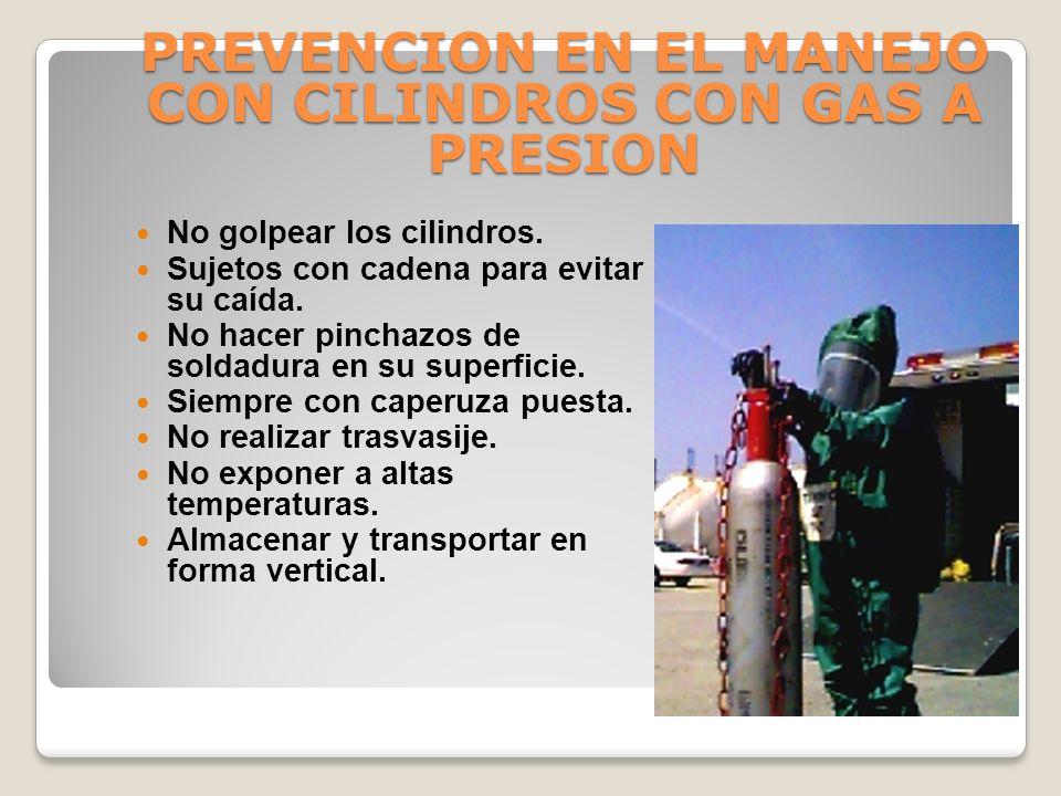 CILINDROS CON GAS A PRESION CARACTERISTICAS: Riesgo inherente al gas contenido. Presión de hasta 200 bar. 200 kg 1 cm 2