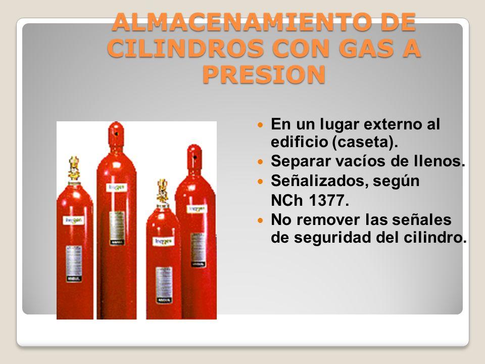 PREVENCION EN EL MANEJO CON CILINDROS CON GAS A PRESION No golpear los cilindros. Sujetos con cadena para evitar su caída. No hacer pinchazos de solda