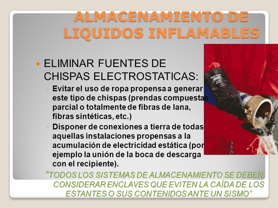ALMACENAMIENTO DE LIQUIDOS INFLAMABLES AREAS DE ALMACENAMIENTO EXTERIOR Se almacenan al aire libre sin muros ni barreras de protección contra incendio