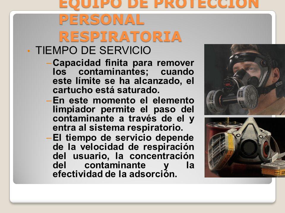 EQUIPO DE PROTECCION PERSONAL RESPIRATORIA RESPIRADORES PURIFICADORES DE AIRE: Estos respiradores usan un filtro absorbente para eliminar los contamin