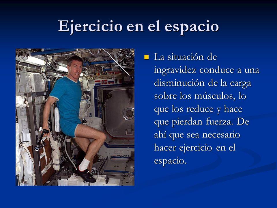 Ejercicio en el espacio La situación de ingravidez conduce a una disminución de la carga sobre los músculos, lo que los reduce y hace que pierdan fuer