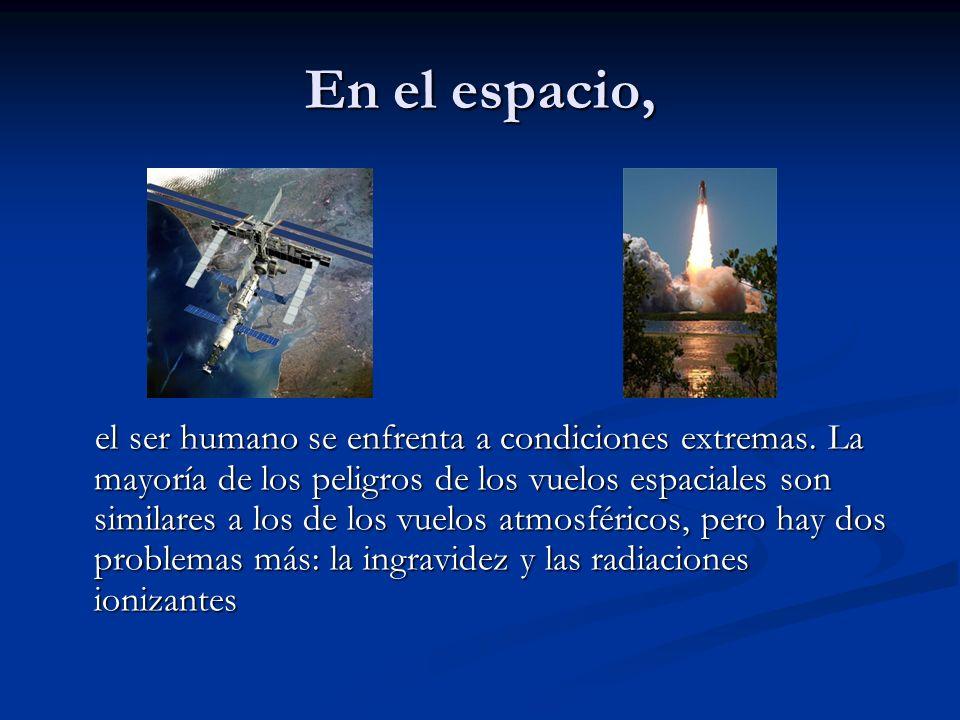 En el espacio, el ser humano se enfrenta a condiciones extremas. La mayoría de los peligros de los vuelos espaciales son similares a los de los vuelos