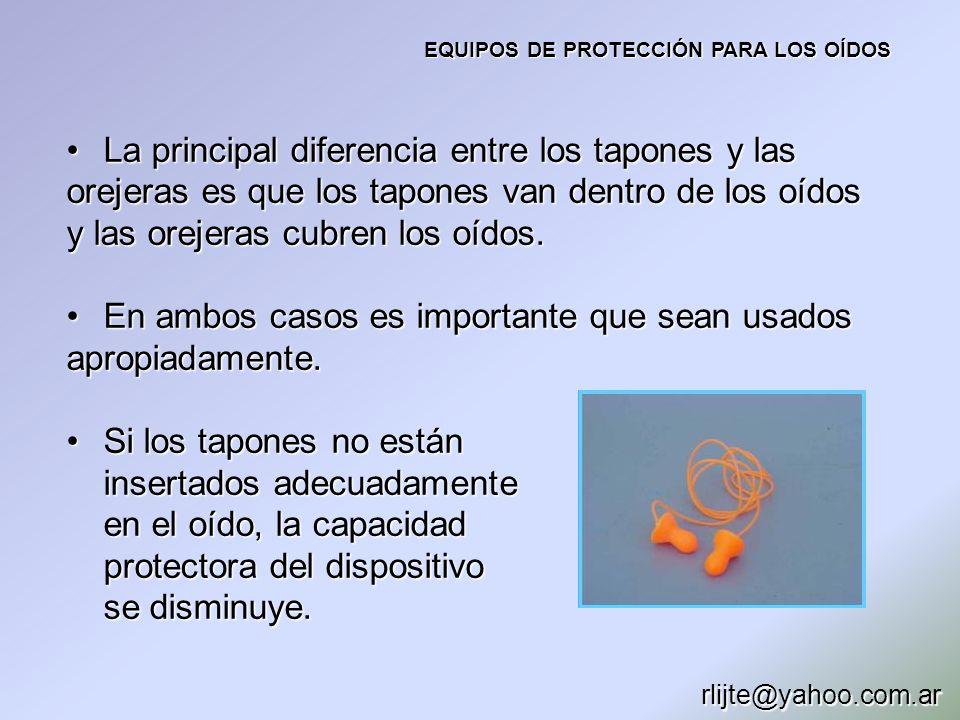 EQUIPOS DE PROTECCIÓN PARA LOS OÍDOS La principal diferencia entre los tapones y las orejeras es que los tapones van dentro de los oídos y las orejera