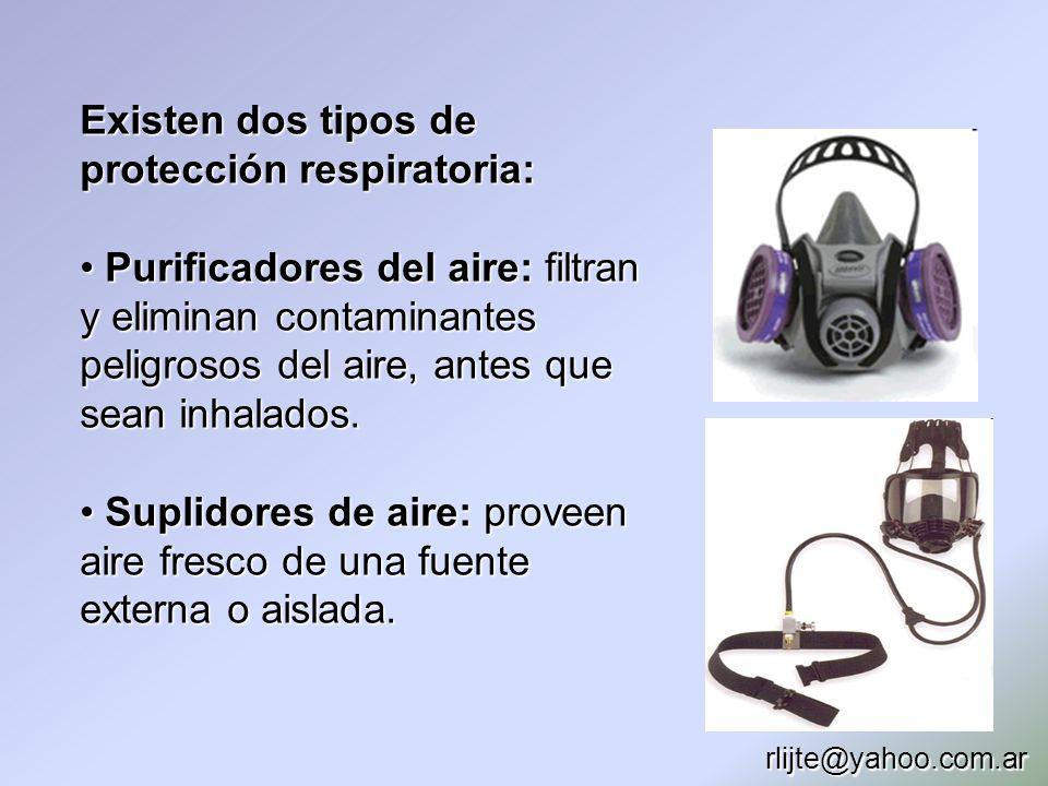 Existen dos tipos de protección respiratoria: Purificadores del aire: filtran y eliminan contaminantes peligrosos del aire, antes que sean inhalados.