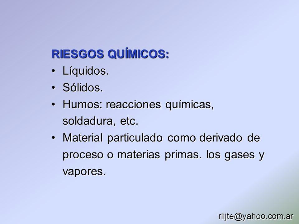 RIESGOS QUÍMICOS: Líquidos.Líquidos. Sólidos.Sólidos. Humos: reacciones químicas, soldadura, etc.Humos: reacciones químicas, soldadura, etc. Material