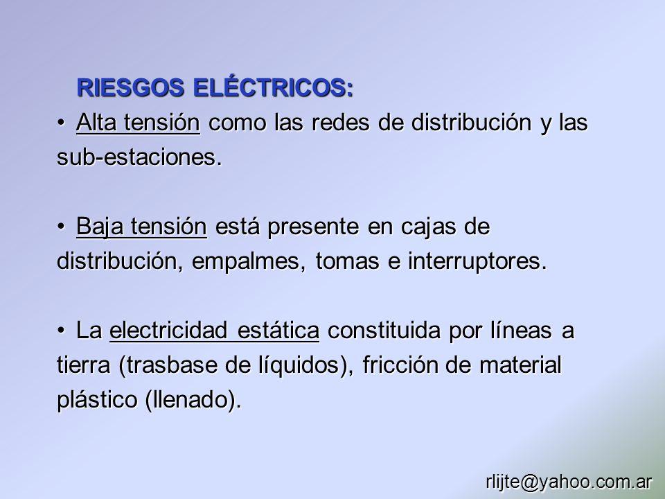 RIESGOS ELÉCTRICOS: Alta tensión como las redes de distribución y las sub-estaciones.Alta tensión como las redes de distribución y las sub-estaciones.