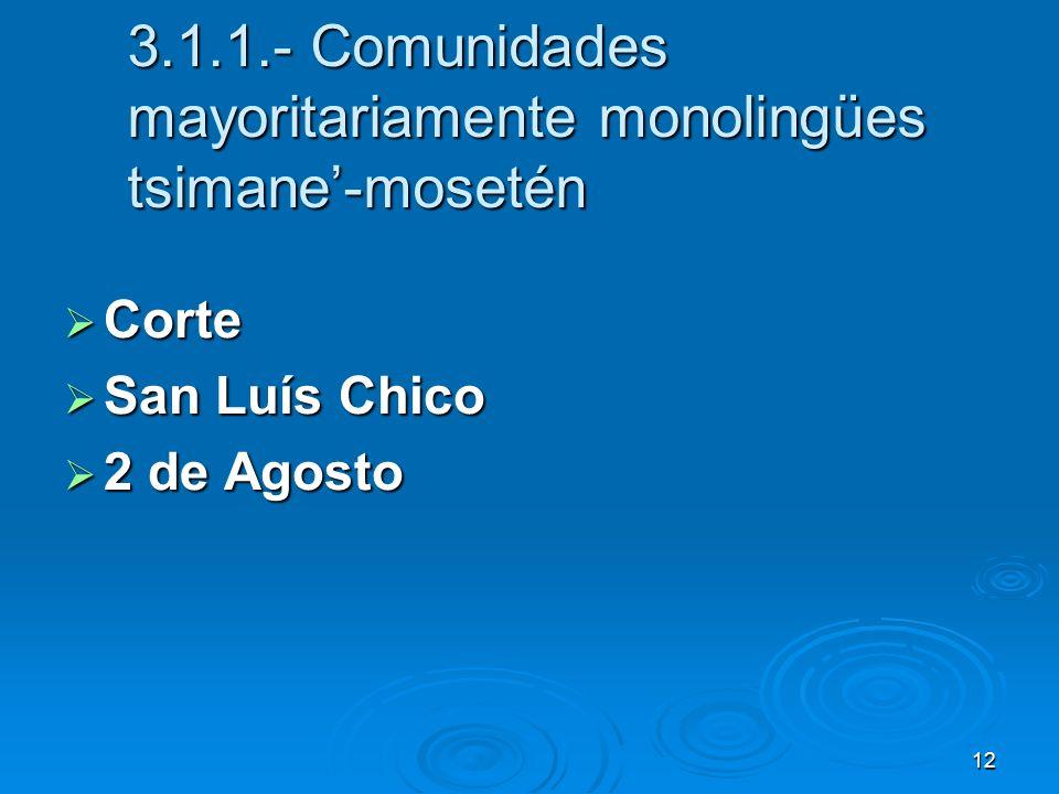 12 3.1.1.- Comunidades mayoritariamente monolingües tsimane-mosetén Corte Corte San Luís Chico San Luís Chico 2 de Agosto 2 de Agosto
