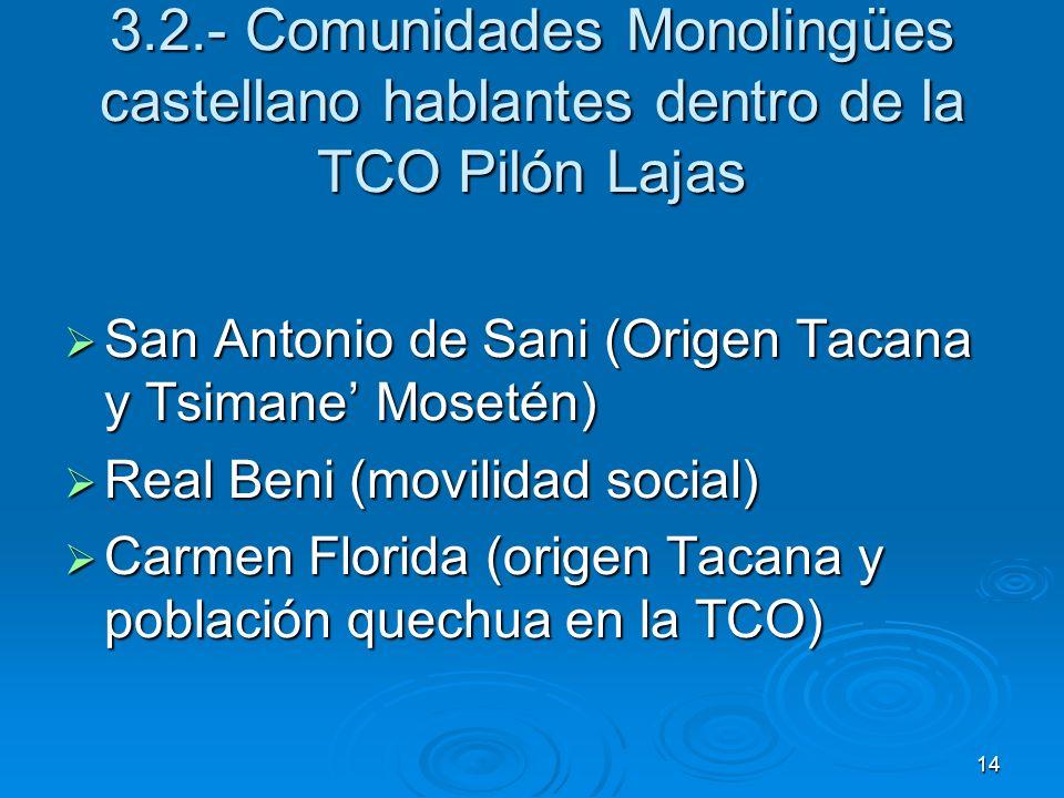 14 3.2.- Comunidades Monolingües castellano hablantes dentro de la TCO Pilón Lajas San Antonio de Sani (Origen Tacana y Tsimane Mosetén) San Antonio d
