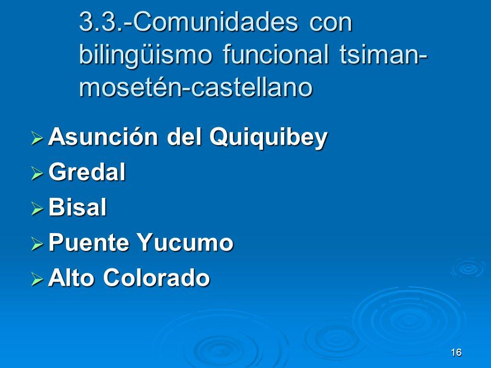 16 3.3.-Comunidades con bilingüismo funcional tsiman- mosetén-castellano Asunción del Quiquibey Asunción del Quiquibey Gredal Gredal Bisal Bisal Puent