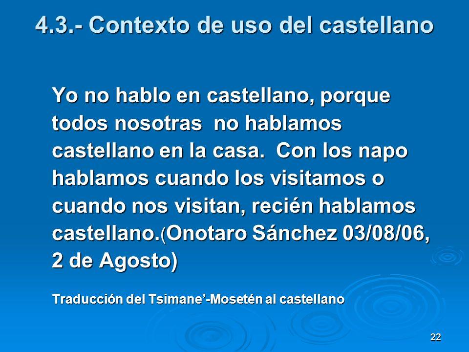 22 4.3.- Contexto de uso del castellano Yo no hablo en castellano, porque todos nosotras no hablamos castellano en la casa. Con los napo hablamos cuan