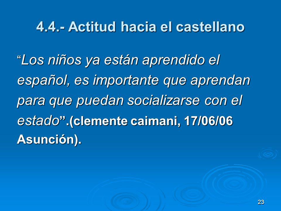 23 4.4.- Actitud hacia el castellano Los niños ya están aprendido el Los niños ya están aprendido el español, es importante que aprendan para que pued