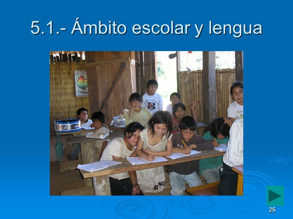 25 5.1.- Ámbito escolar y lengua