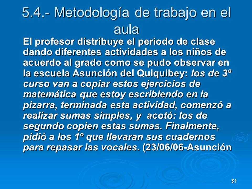 31 5.4.- Metodología de trabajo en el aula El profesor distribuye el periodo de clase dando diferentes actividades a los niños de acuerdo al grado com