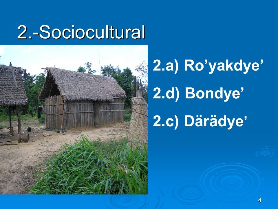 4 2.-Sociocultural 2.a) Royakdye 2.d) Bondye 2.c) Därädye