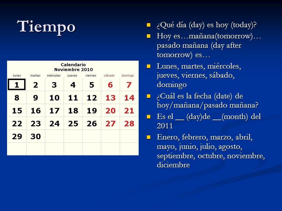 Tiempo ¿Qué día (day) es hoy (today)? Hoy es…mañana(tomorrow)… pasado mañana (day after tomorrow) es… Lunes, martes, miércoles, jueves, viernes, sábad