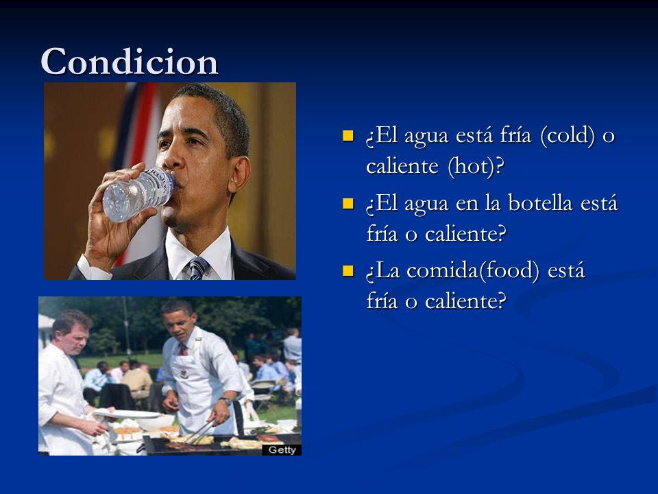 Condicion ¿El agua está fría (cold) o caliente (hot)? ¿El agua en la botella está fría o caliente? ¿La comida(food) está fría o caliente?