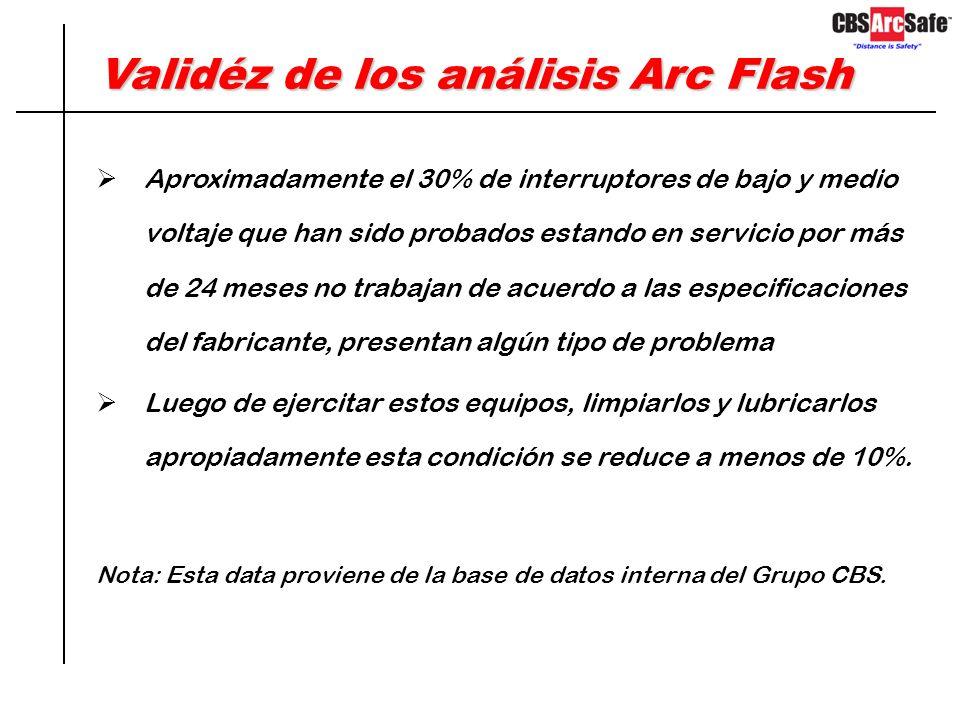 Validéz de los análisis Arc Flash Los resultados del análisis asumen que todos los componentes involucrados en la falla responden de acuerdo a las esp