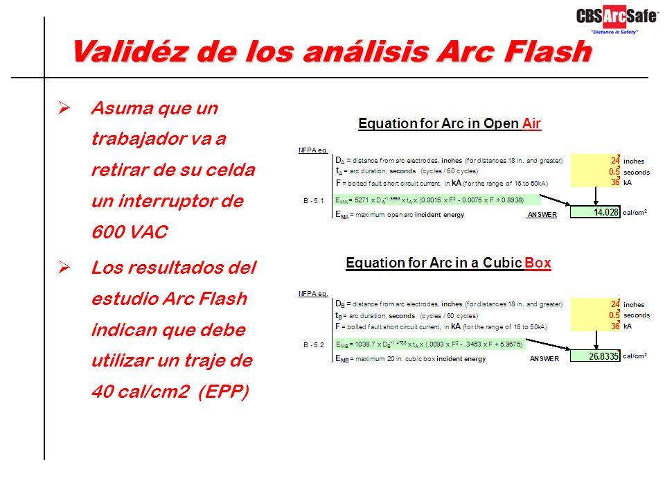 Validéz de los análisis Arc Flash Aproximadamente el 30% de interruptores de bajo y medio voltaje que han sido probados estando en servicio por más de