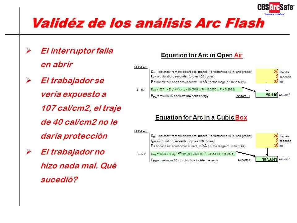 Validéz de los análisis Arc Flash Asuma que un trabajador va a retirar de su celda un interruptor de 600 VAC Los resultados del estudio Arc Flash indi