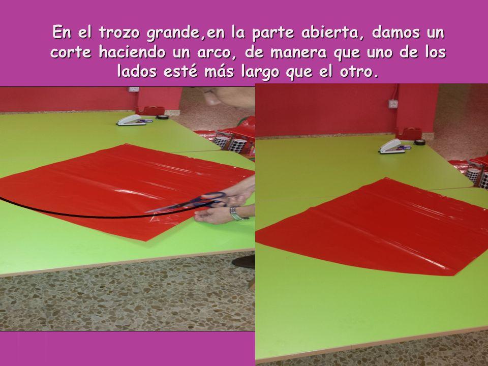 El trozo de plástico pequeño que se os adjuntará, se dobla por la mitad, a lo largo, y se corta por la mitad.