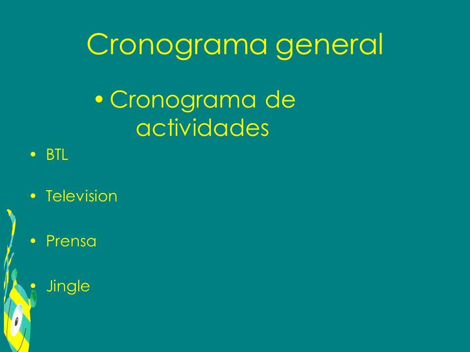 Cronograma general Cronograma de actividades BTL Television Prensa Jingle
