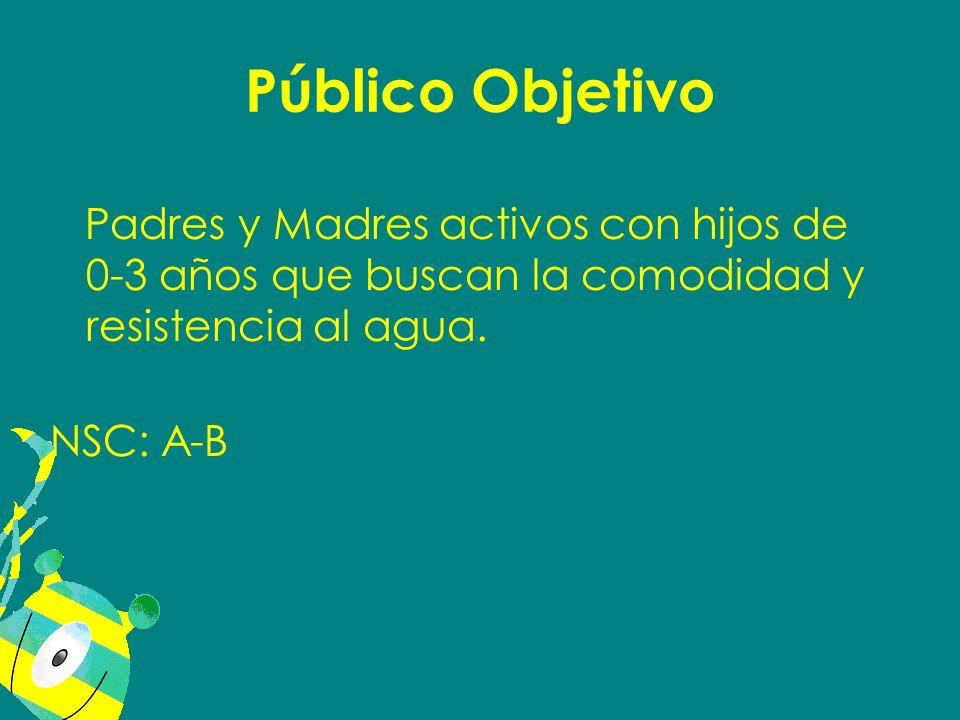 Público Objetivo Padres y Madres activos con hijos de 0-3 años que buscan la comodidad y resistencia al agua. NSC: A-B