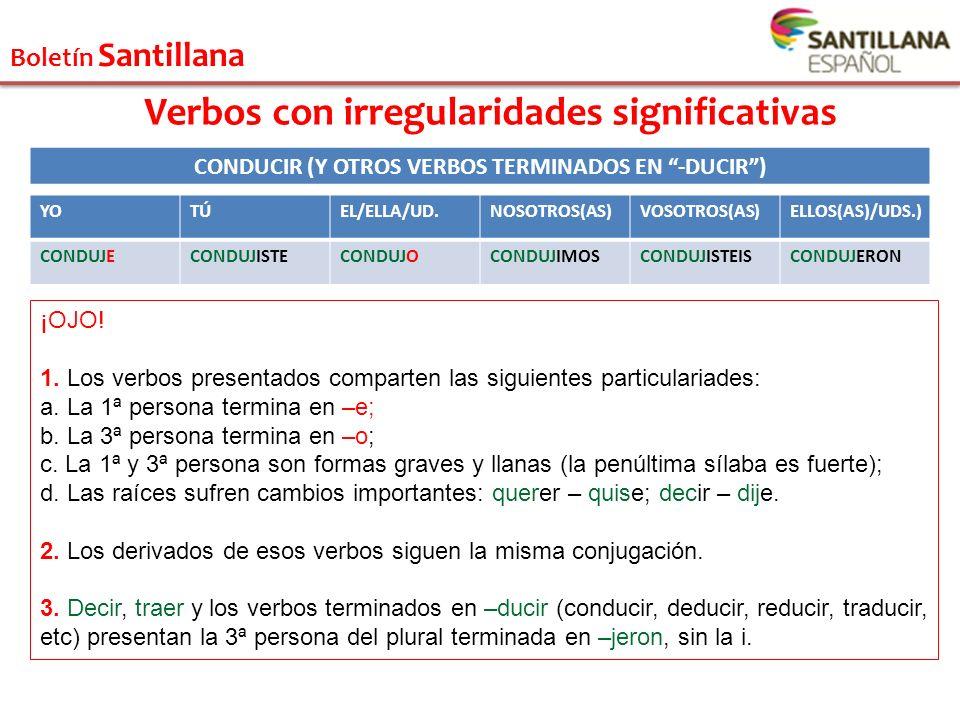 Boletín Santillana Verbos con irregularidades significativas YOTÚEL/ELLA/UD.NOSOTROS(AS)VOSOTROS(AS)ELLOS(AS)/UDS.) CONDUJECONDUJISTECONDUJOCONDUJIMOS