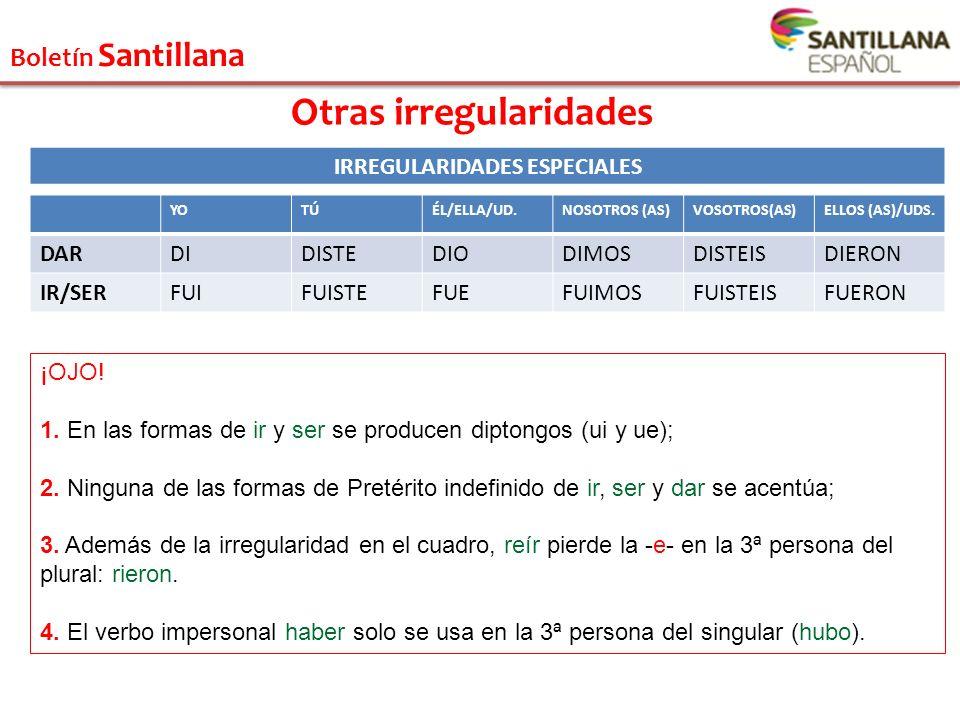 Boletín Santillana Otras irregularidades IRREGULARIDADES ESPECIALES YOTÚÉL/ELLA/UD.NOSOTROS (AS)VOSOTROS(AS)ELLOS (AS)/UDS. DARDIDISTEDIODIMOSDISTEISD