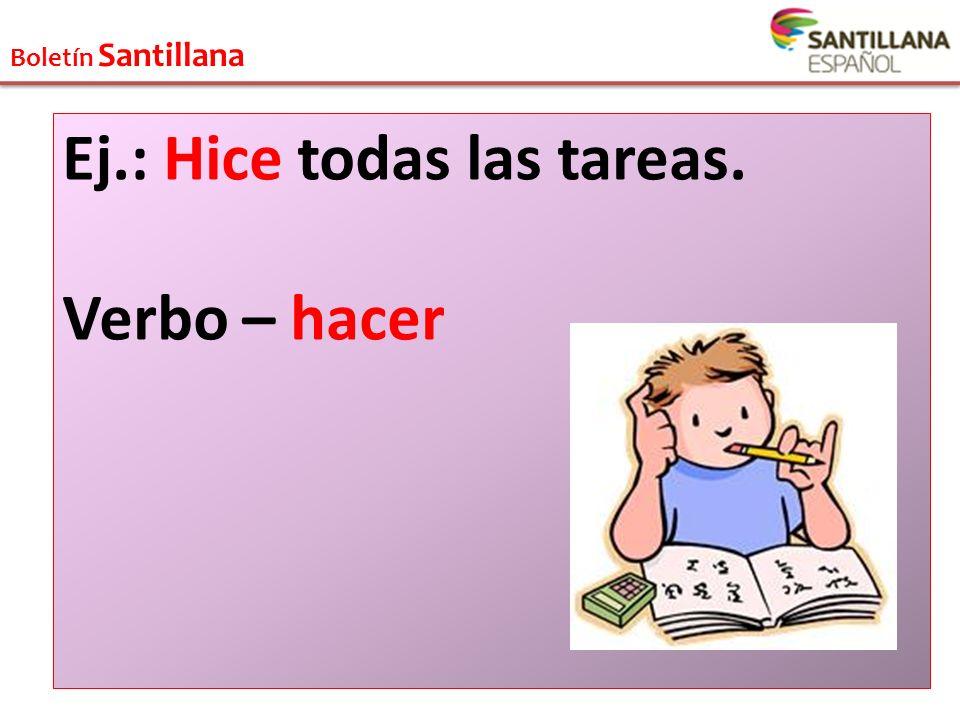Boletín Santillana Ej.: Paco durmió mucho. Verbo – dormir