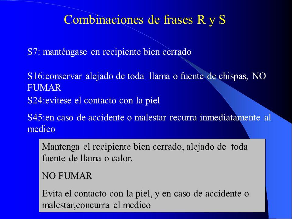 Combinaciones de frases R y S R11:fácilmente inflamable R23:toxico por inhalación R25:toxico por ingestión R 11/23/25: Toxico por inhalación e ingestión