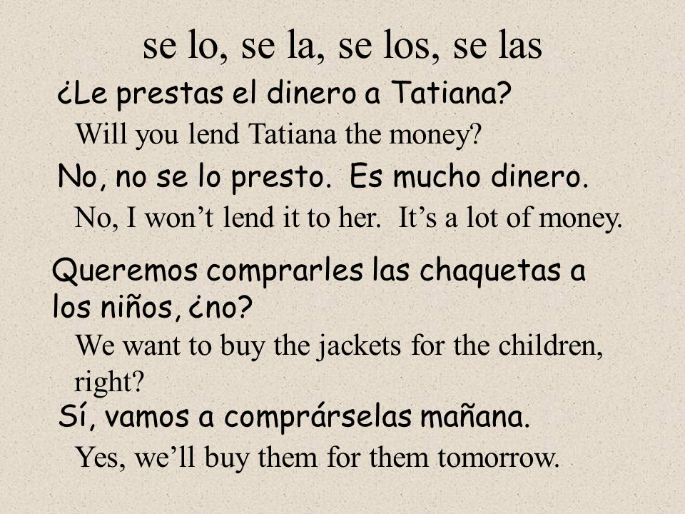 The combinations of object pronouns in Spanish are as follows: me lo, me la me los, me las te lo, te la te los, te las se lo, se la se los, se las nos lo, nos la nos los, nos las os lo, os la os los, os las se lo, se la se los, se las