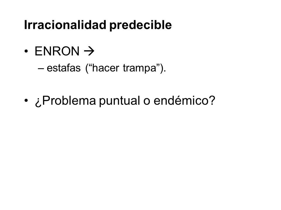 Irracionalidad predecible ENRON –estafas (hacer trampa). ¿Problema puntual o endémico?