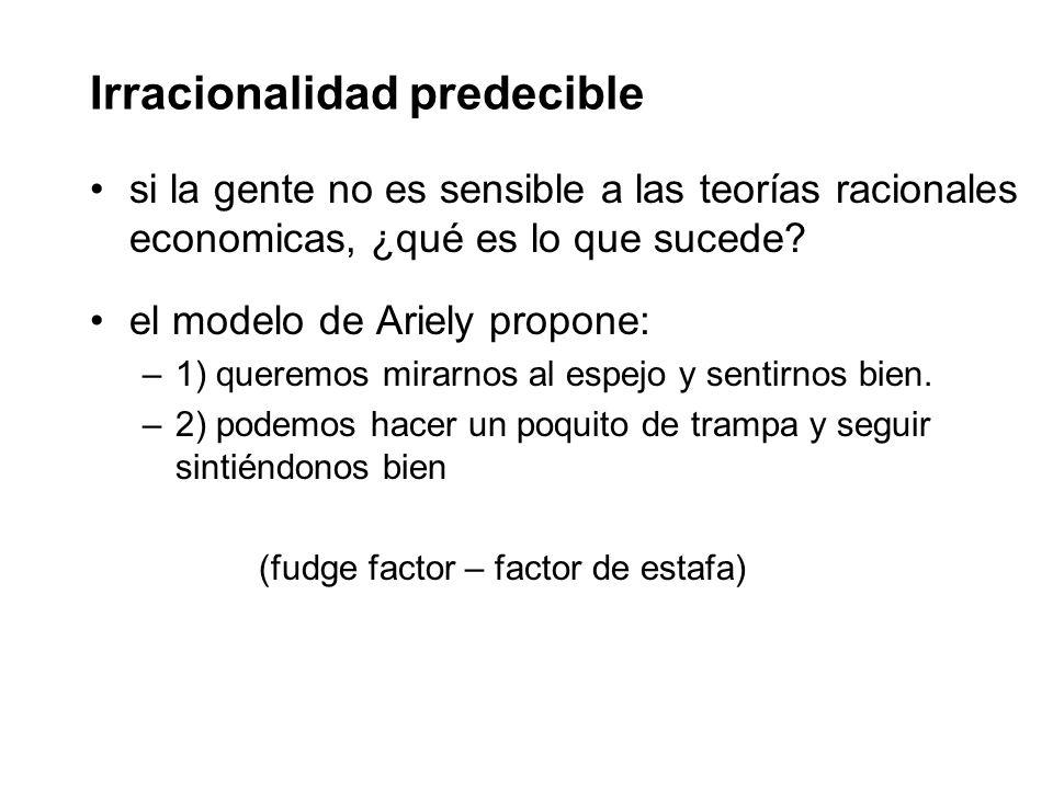 Irracionalidad predecible si la gente no es sensible a las teorías racionales economicas, ¿qué es lo que sucede.