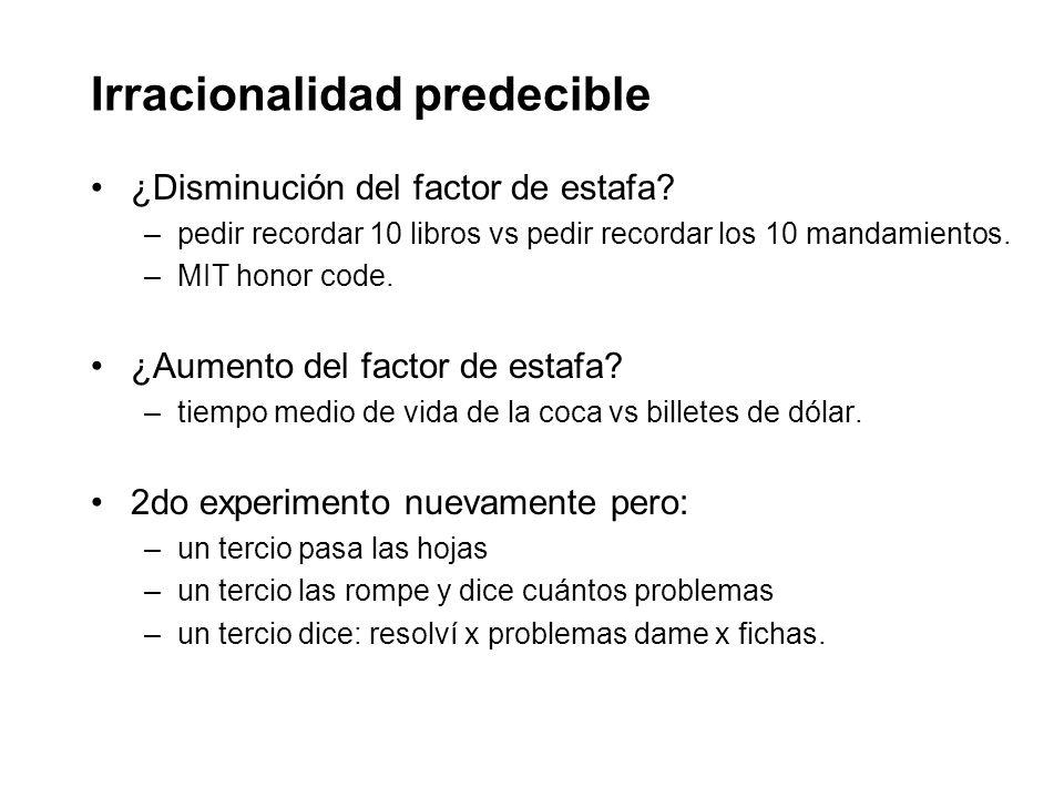 Irracionalidad predecible ¿Disminución del factor de estafa.
