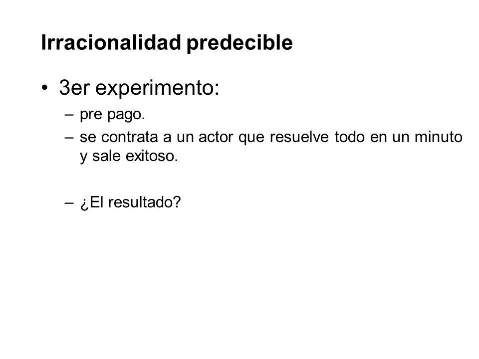 Irracionalidad predecible 3er experimento: –pre pago.
