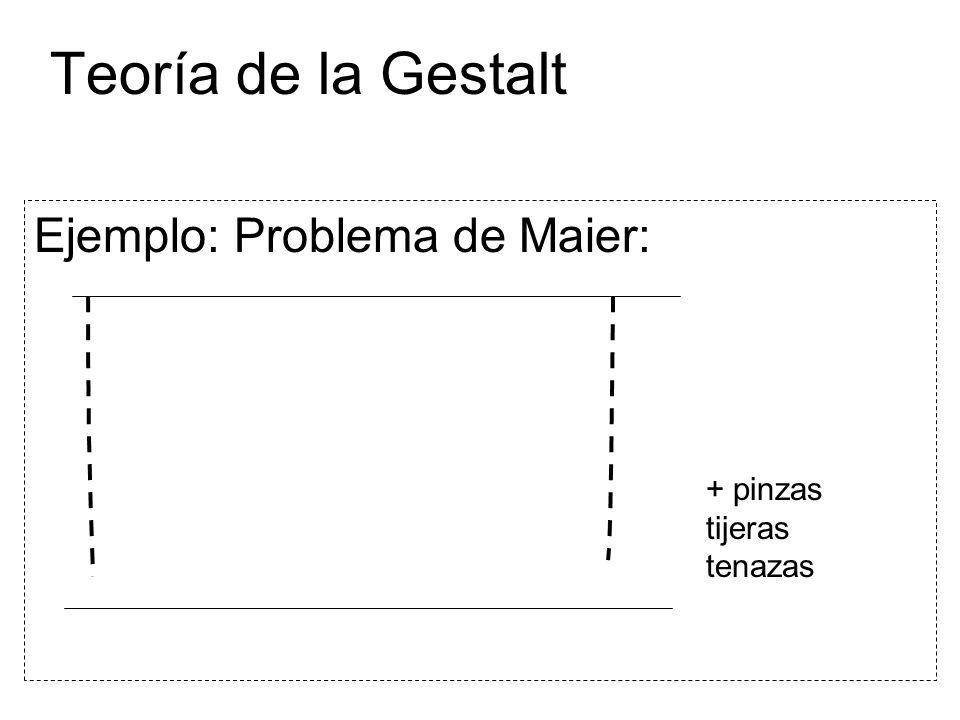 Teoría de la Gestalt Ejemplo: Problema de Maier: + pinzas tijeras tenazas