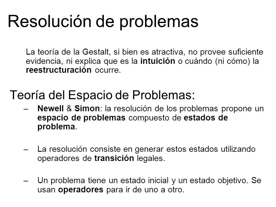 Resolución de problemas La teoría de la Gestalt, si bien es atractiva, no provee suficiente evidencia, ni explica que es la intuición o cuándo (ni cómo) la reestructuración ocurre.