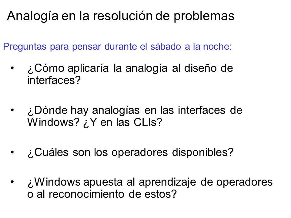 Analogía en la resolución de problemas ¿Cómo aplicaría la analogía al diseño de interfaces.