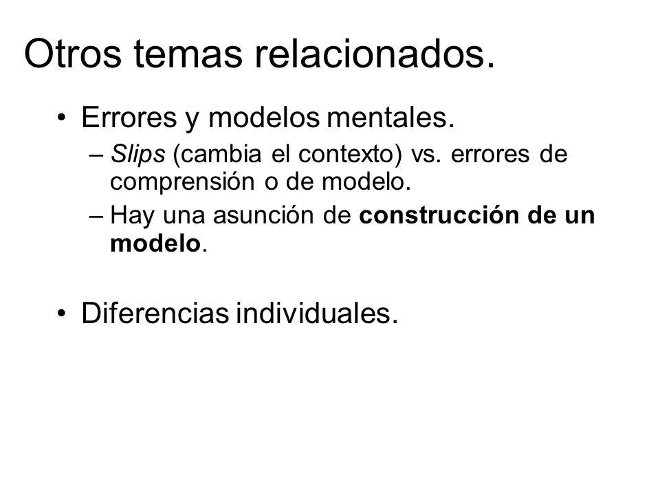 Otros temas relacionados.Errores y modelos mentales.