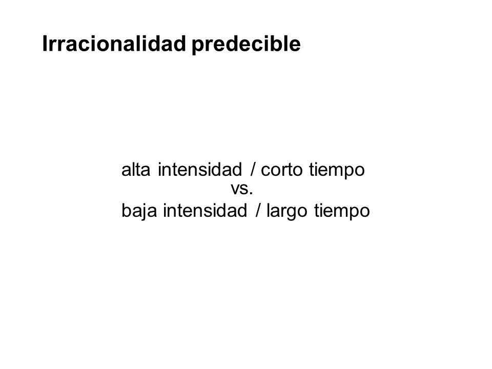 alta intensidad / corto tiempo vs. baja intensidad / largo tiempo Irracionalidad predecible